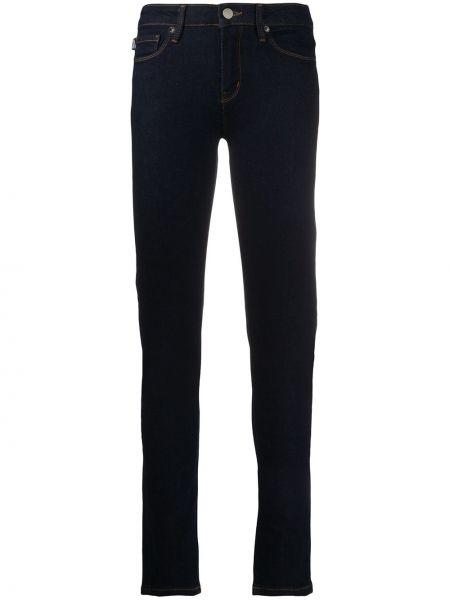 Синие джинсы-скинни с вышивкой на молнии Love Moschino