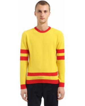 Żółty sweter wełniany w paski Mp Massimo Piombo