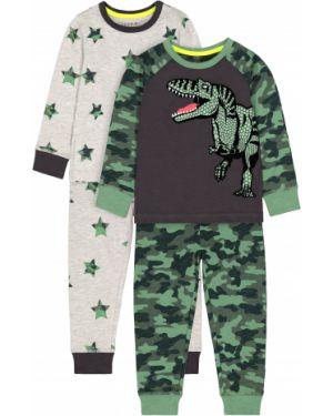 Пижама серая зеленый Mothercare