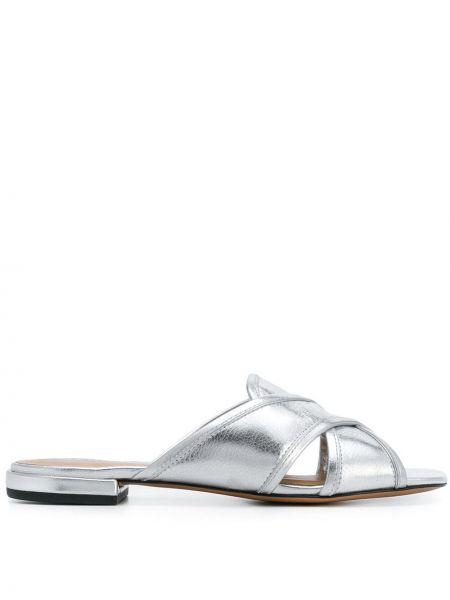Повседневные серебряные кожаные шлепанцы Marc Jacobs