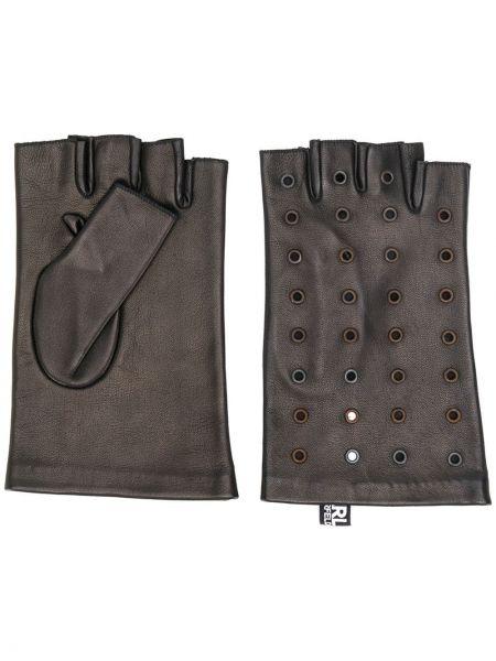 Skórzany rękawiczki bez palców czarny Karl Lagerfeld