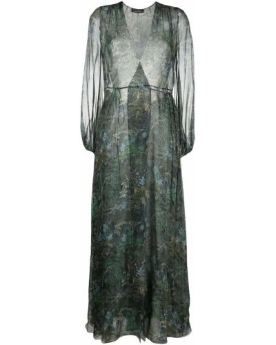Шелковое платье макси - зеленое Carine Gilson