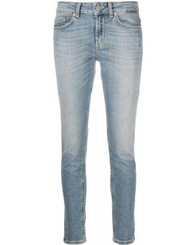 Прямые синие укороченные джинсы на пуговицах Dondup