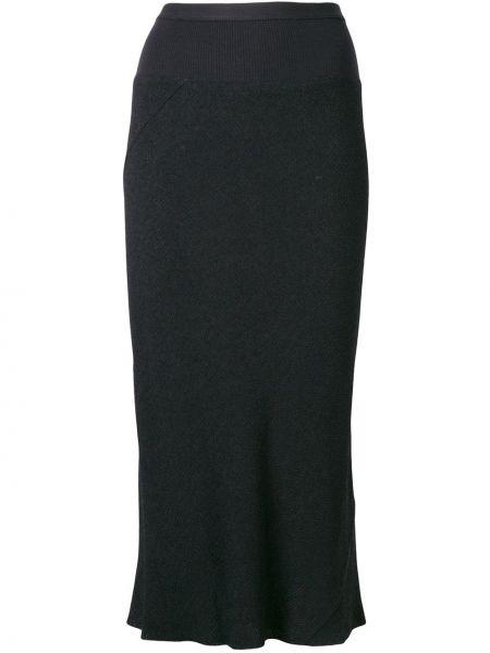 Czarna spódnica asymetryczna bawełniana Rick Owens