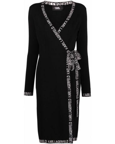 Черное платье с запахом с вышивкой Karl Lagerfeld