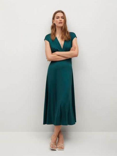 Расклешенное зеленое платье миди с короткими рукавами Mango