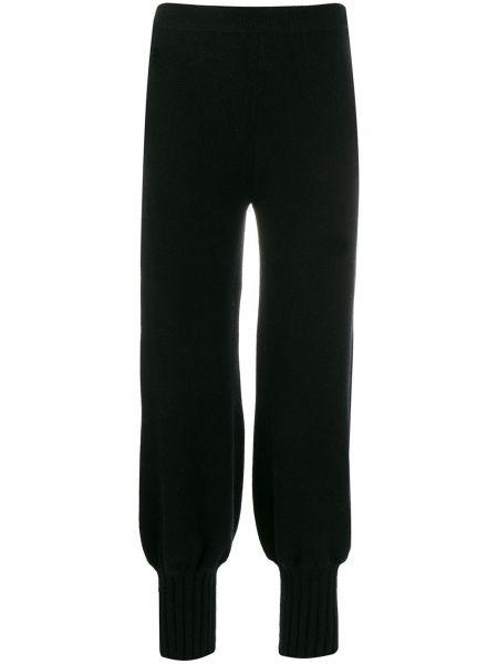 Prążkowane czarne spodnie wełniane Genny