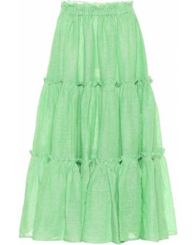 Зеленая льняная юбка миди Lisa Marie Fernandez