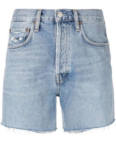 Хлопковые джинсовые шорты на молнии классические Agolde
