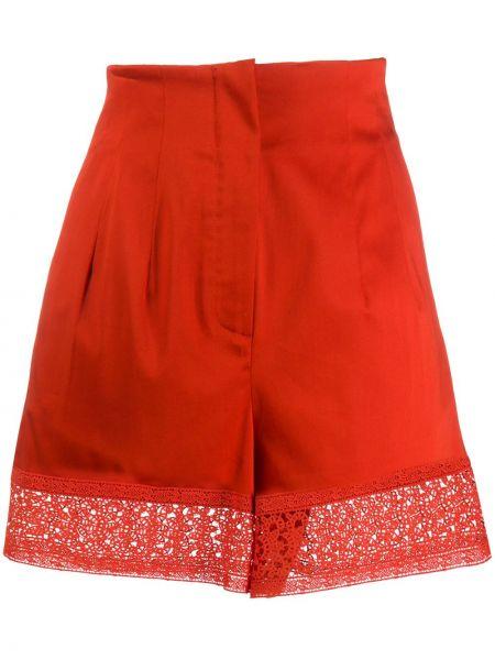 Хлопковые красные шорты с карманами L'autre Chose