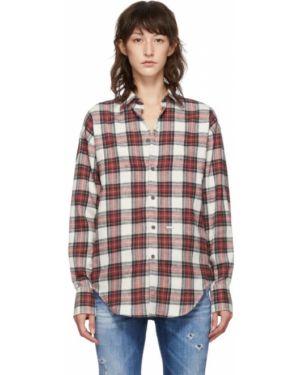Рубашка с длинным рукавом в клетку без воротника Dsquared2
