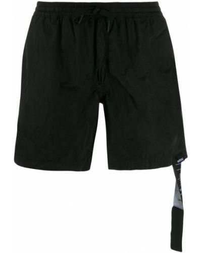 Черные пляжные шорты свободного кроя с поясом Nemen