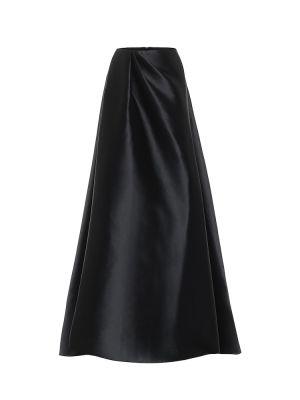 Сатиновая черная юбка макси Alex Perry