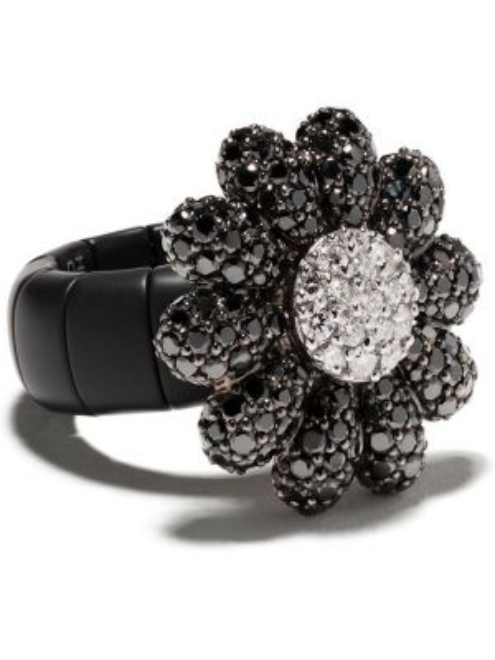 Czarny złoty pierścionek z diamentem Roberto Demeglio