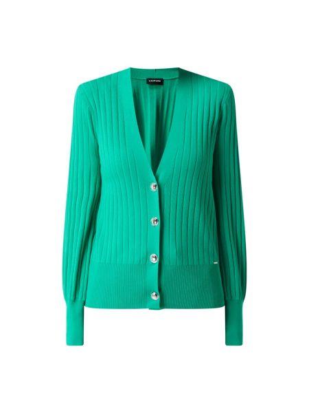 Prążkowana zielona kurtka z wiskozy Taifun