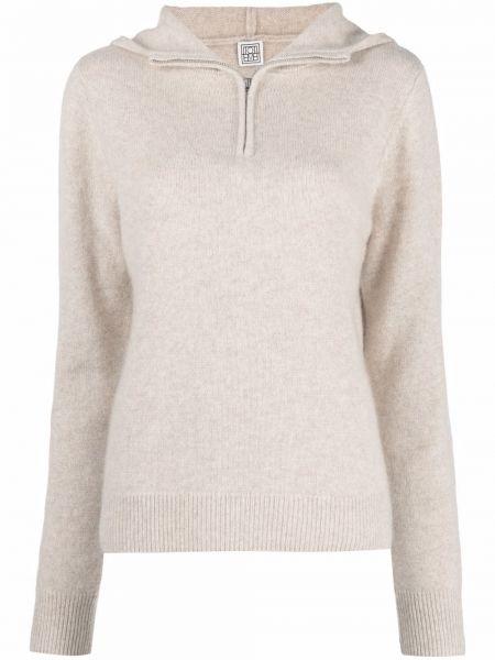 Beżowy z kaszmiru sweter Toteme