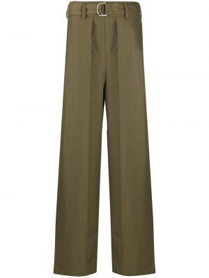 Хлопковые зеленые брюки с карманами Christian Wijnants
