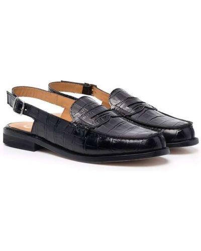 Czarne loafers kaskadowe na obcasie Gallucci Kids