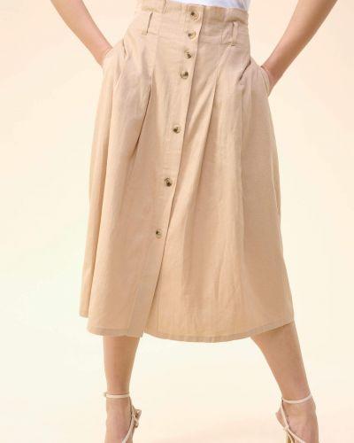 Spódnica midi rozkloszowana zapinane na guziki bawełniana Orsay