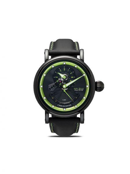 Кожаные черные часы швейцарские круглые Chronoswiss
