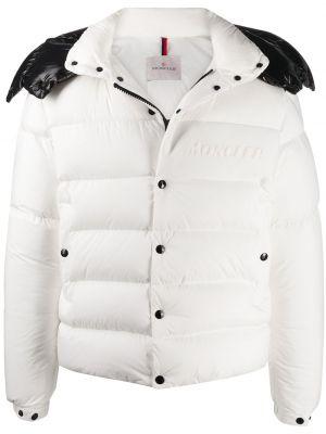 Puchaty biały długa kurtka z kieszeniami z długimi rękawami Moncler