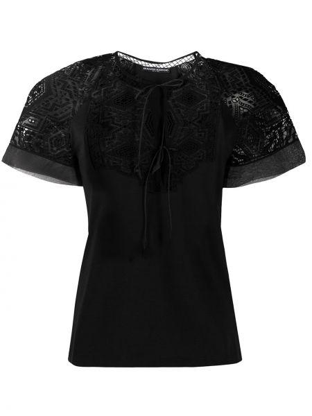 Черная кружевная блузка с короткими рукавами Ermanno Scervino