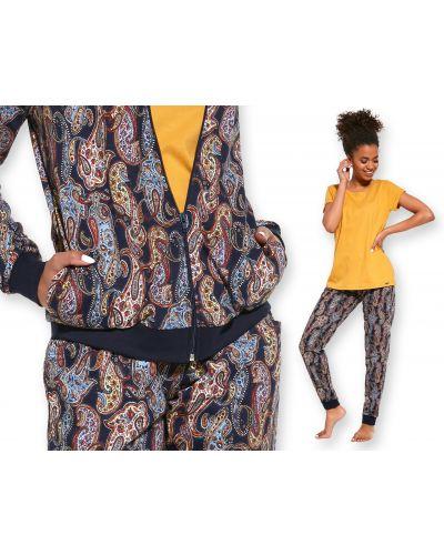 Bawełna bawełna piżama z długimi rękawami okrągły Cornette