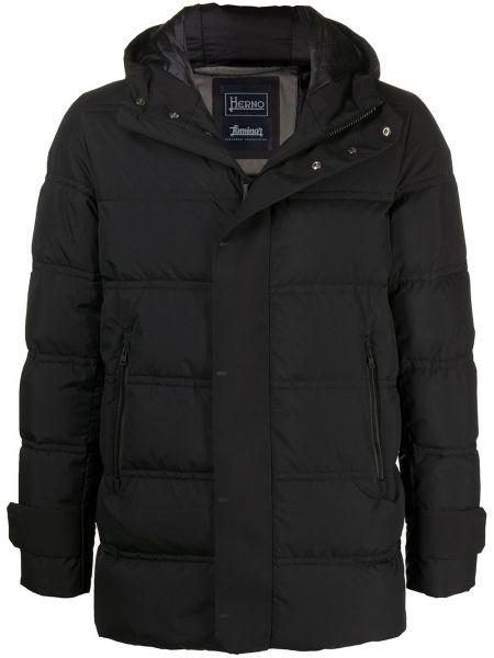 Czarny puchaty z rękawami klasyczny płaszcz z kieszeniami Herno