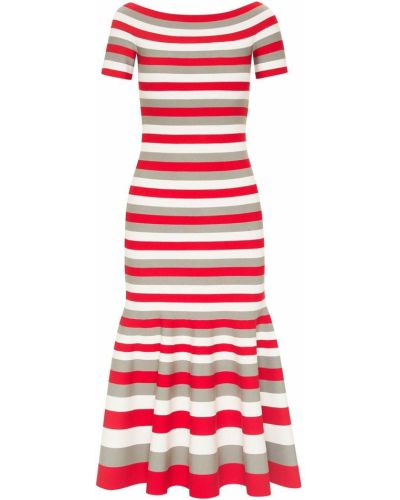 Красное платье миди с открытыми плечами в полоску Oscar De La Renta