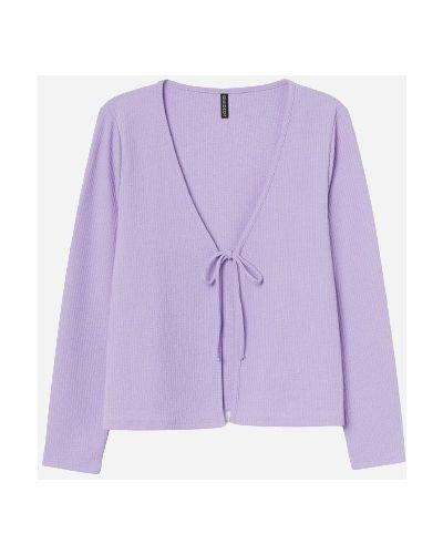 Фиолетовый кардиган с вырезом узкого кроя H&m
