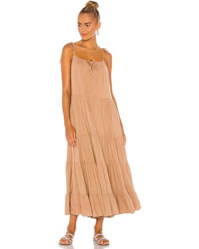 Brązowy włókienniczy sukienka midi z kieszeniami na paskach Majorelle