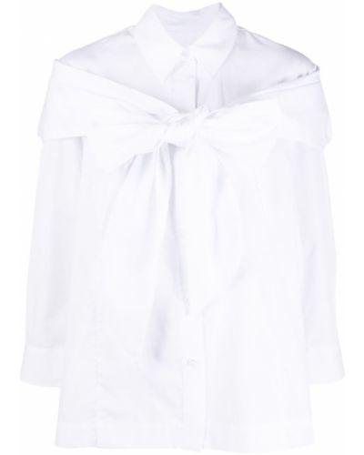 Хлопковая с рукавами белая блузка с воротником Simone Rocha