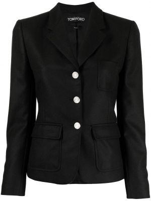 Однобортный черный пиджак с накладными карманами Tom Ford