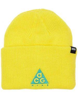 Żółty czapka beanie z haftem Nike Acg