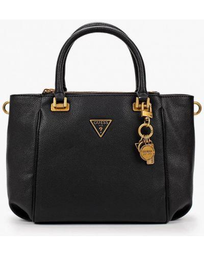 Кожаная черная сумка с ручками Guess