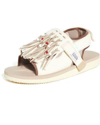 Białe sandały zamszowe na rzepy Suicoke