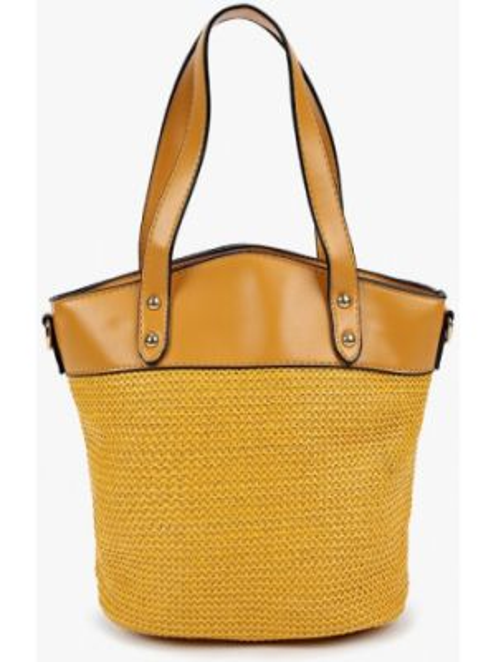 Желтая кожаная сумка из искусственной кожи Elsi