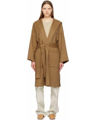 Коричневое пальто с капюшоном Loewe