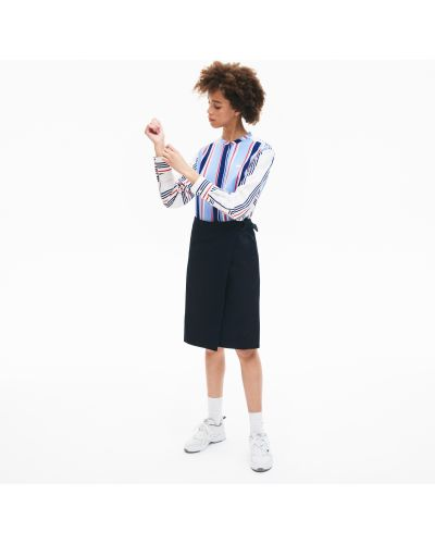 Хлопковая синяя юбка Lacoste