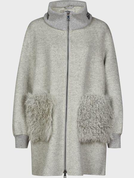 Серое шерстяное пальто на молнии Diego M