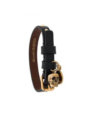 Золотистый кожаный черный браслет Alexander Mcqueen