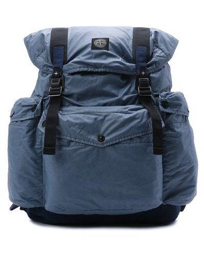 Текстильный синий рюкзак Stone Island