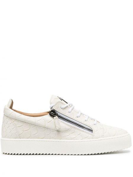 Skórzany biały skórzane sneakersy z łatami na sznurowadłach Giuseppe Zanotti