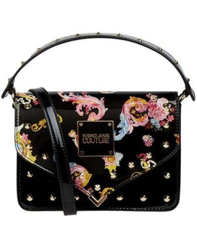 Czarna torba na ramię lakierowana Versace Jeans Couture