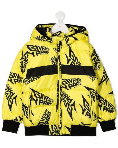 С рукавами желтая куртка с капюшоном Givenchy Kids
