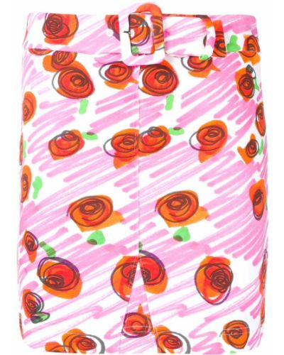 Юбка мини с цветочным принтом розовая Moschino