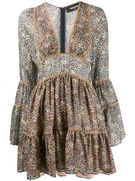 Платье мини с цветочным принтом с V-образным вырезом Dsquared2