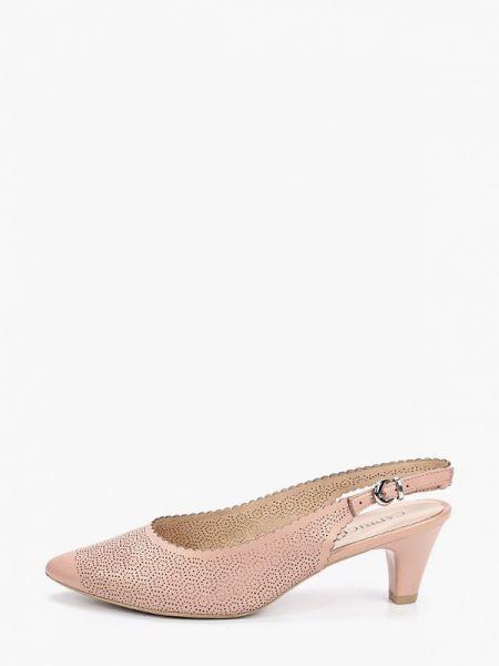 Кожаные туфли с открытой пяткой розовый Caprice