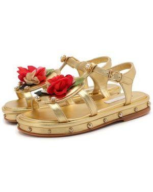 Кожаные босоножки золотой желтый Dolce & Gabbana