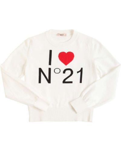 Biały sweter bawełniany N°21